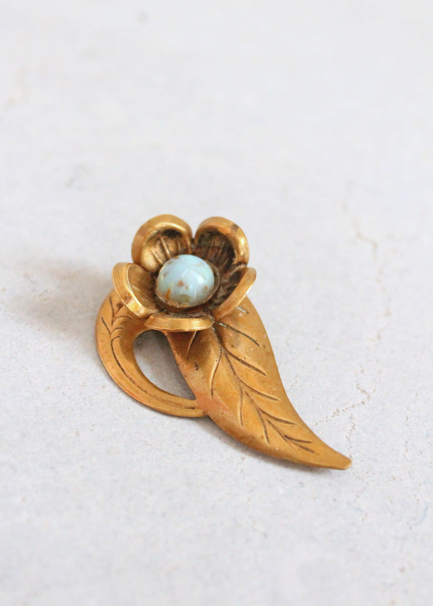 Vintage 1930s Brass and Turquoise Glass Flower Brooch