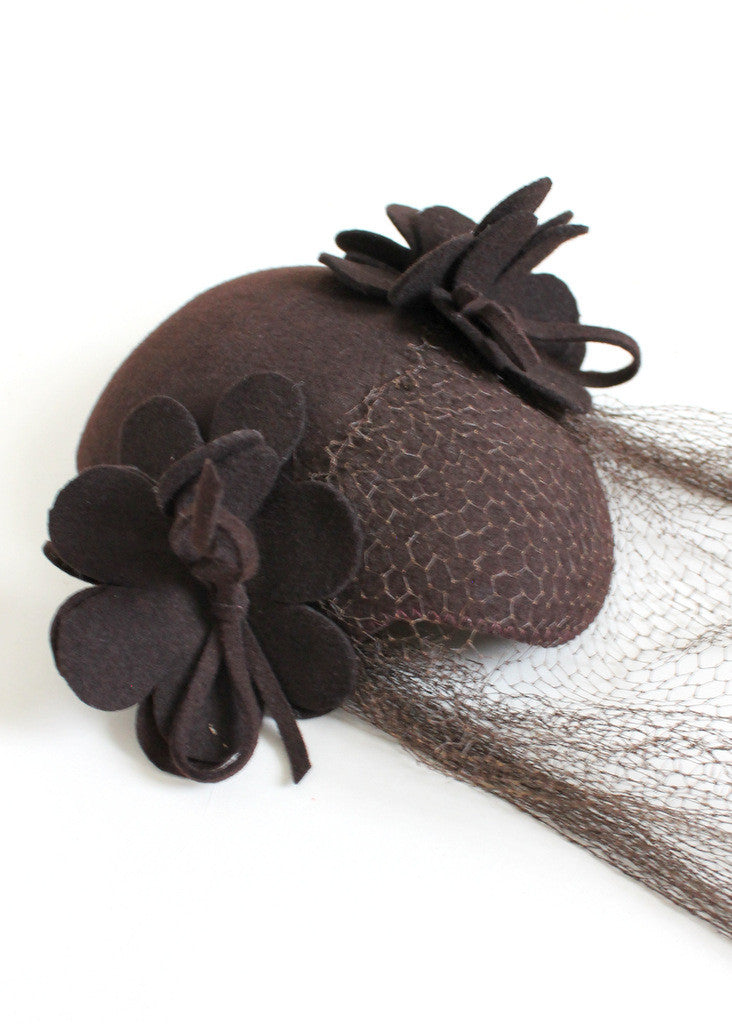 Vintage Late 1930s Brown Felt Veiled Hat