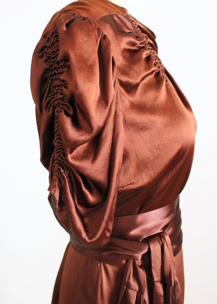 Vintage 1930s Brown Liquid Satin Dress with Tassel Belt