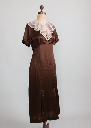 Vintage 1930s Brown Silk and Lace Dress and Jacket NRA NOS