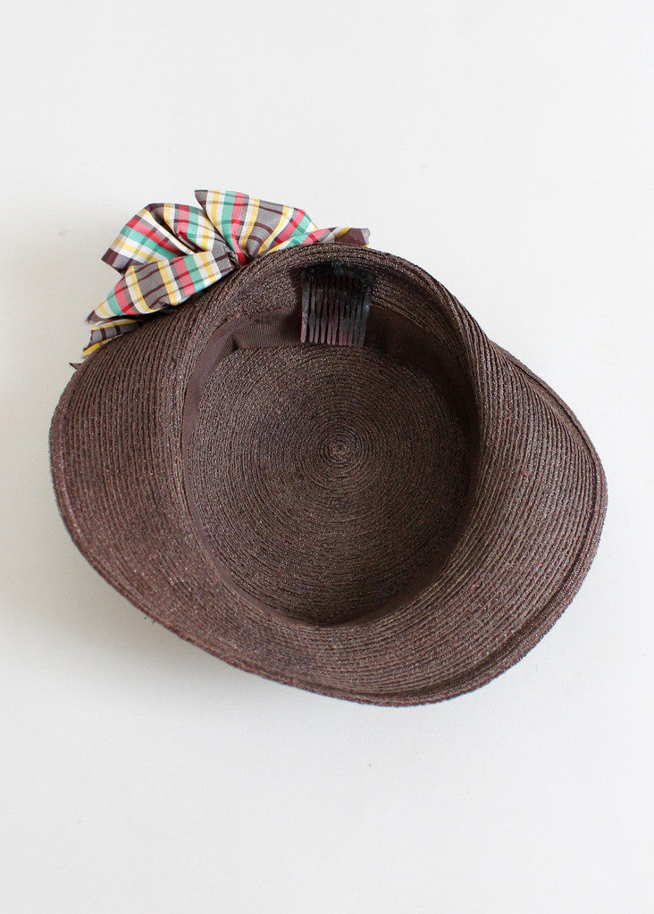 Vintage 1930s Brown Straw Tilt Hat with Plaid Bow