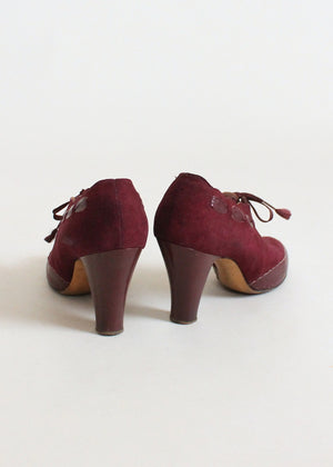 Vintage 1930s Burgundy Suede and Leather Lace Up Shoes
