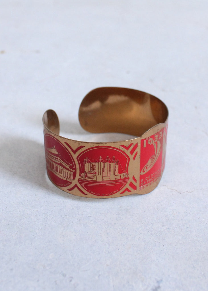 Vintage 1930s Chicago World's Fair Red and Brass Bangle
