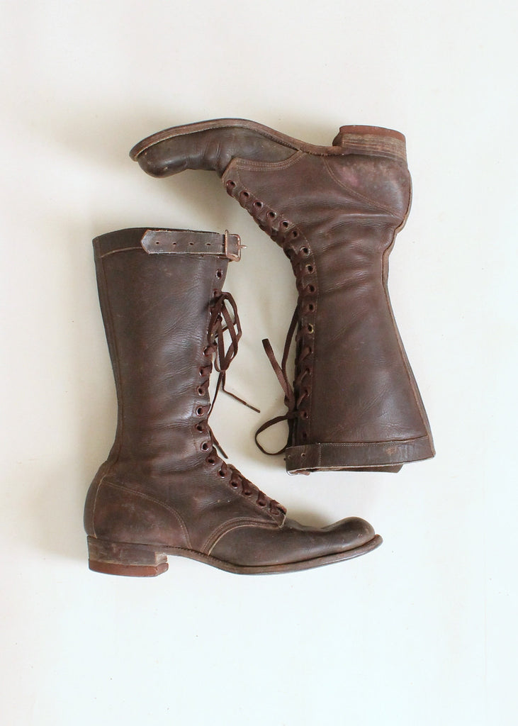 Vintage 1930s Chippewa Tall Lace Up Work Boots Raleigh