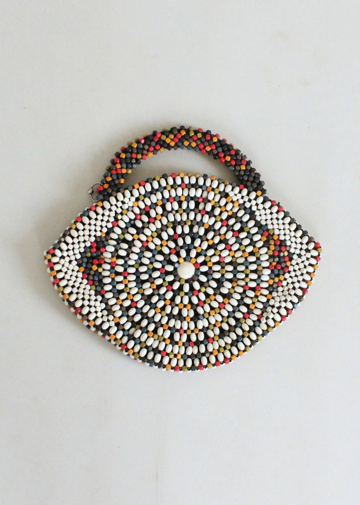 Vintage 1930s Large Czech Wooden Bead Eye Purse Raleigh