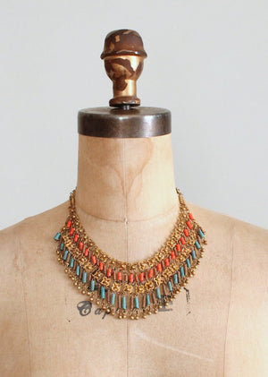 Vintage 1930s Egyptian Revival Necklace and Bracelet Set