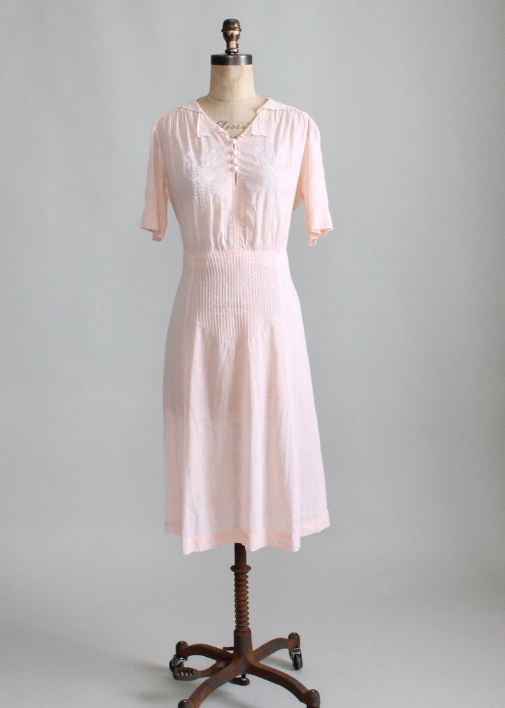 Vintage 1930s Embroidered Cotton Summer Day Dress