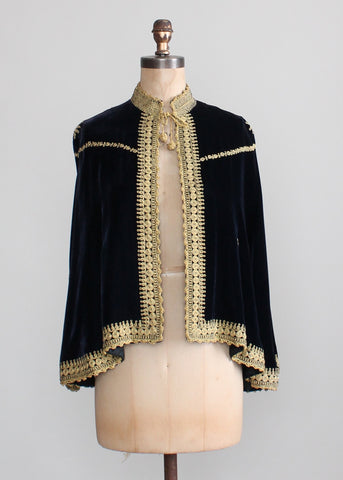 Vintage 1930s Embroidered Velvet Palestinian Wedding Cape