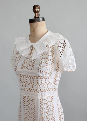 Vintage 1930s Ivory Eyelet Lace Dress and Jacket