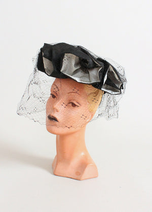 Vintage 1930s Holly Vogue Sculptural Flowers Black Hat
