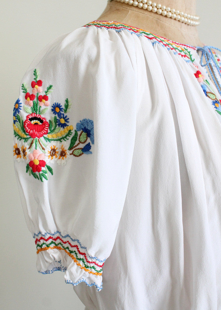 1930s embroidered silk blouse