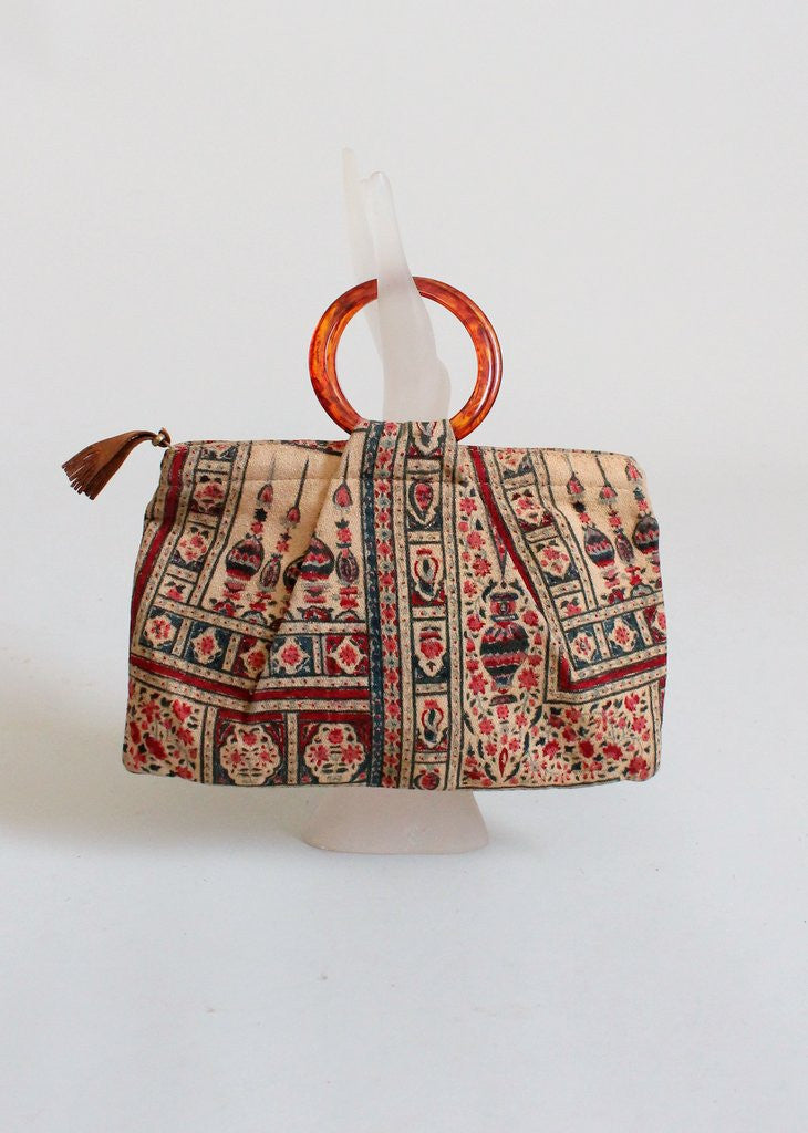 Vintage 1930s Indian Print Purse with Bakelite Handles