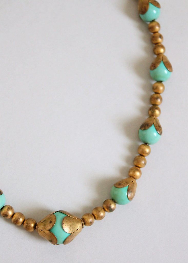 Vintage 1930s Jade Glass and Brass Choker Necklace
