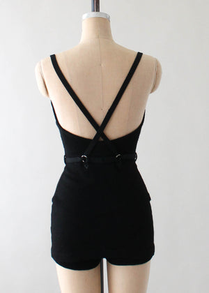 Vintage 1930s Black Wool Jantzen Swimsuit