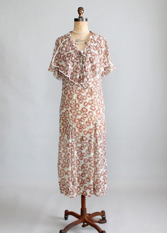 Rare Vintage 1930s L'Aiglon Foral Voile Day Dress