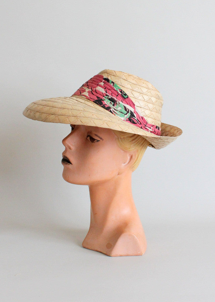 Vintage 1930s straw beach hat