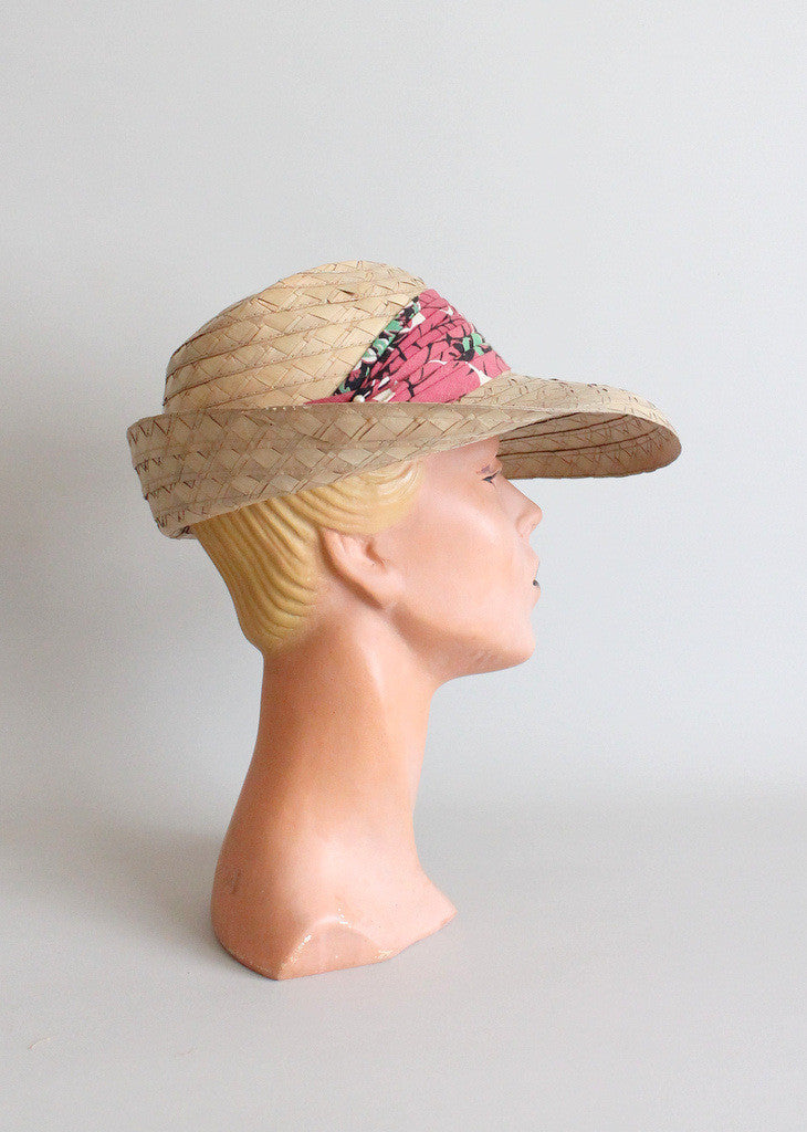 Vintage 1930s straw hat with floral scarf