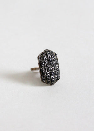 Vintage 1930s Black Marcasite Cocktail Ring