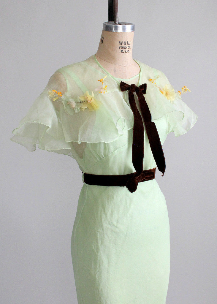 Vintage 1930s Mint Green Organdy Party Dress and Capelet