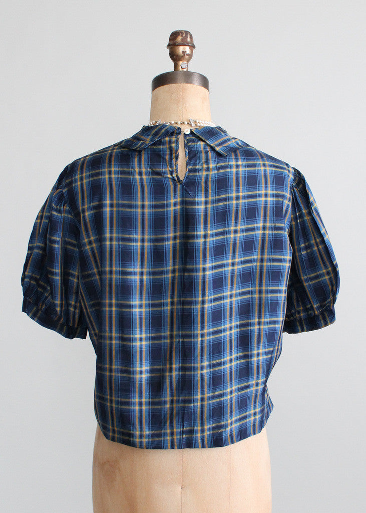 Vintage 1930s Plaid Silk Blouse with an NRA Label