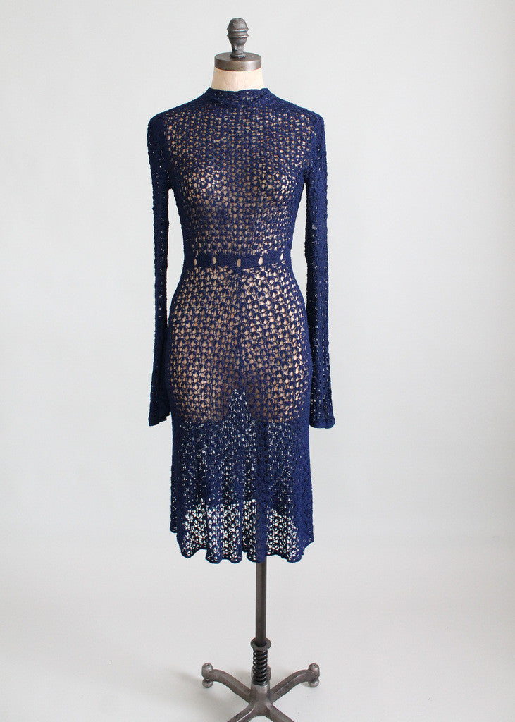 Vintage 1930s Navy Knit Swing Dress