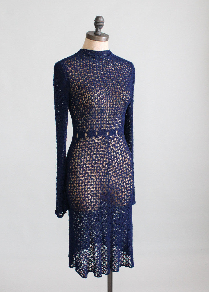1930s Navy Blue Knit Dress