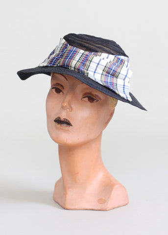 Vintage 1930s Navy Straw and Plaid Bow Hat