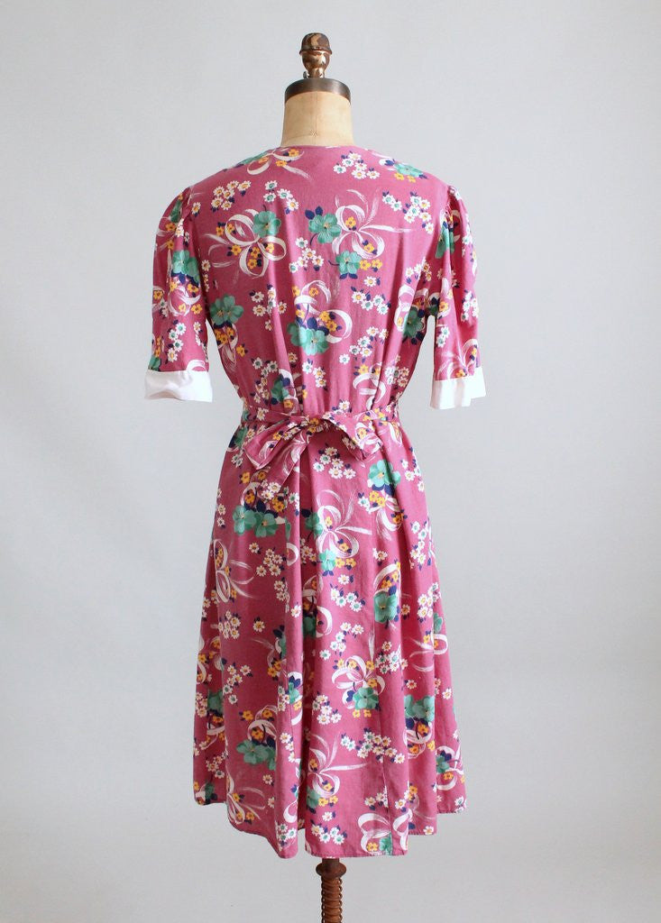Vintage 1930s Flower Market Cotton Day Dress