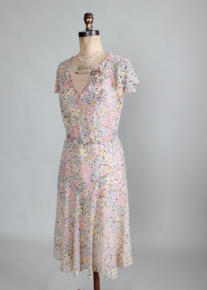 Vintage Early 1930s Pastel Floral Crepe Dress