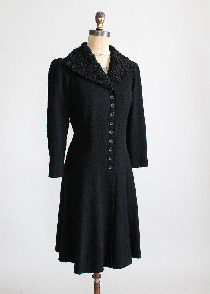 Vintage 1930s Princess Coat with Curly Lamb Fur Collar