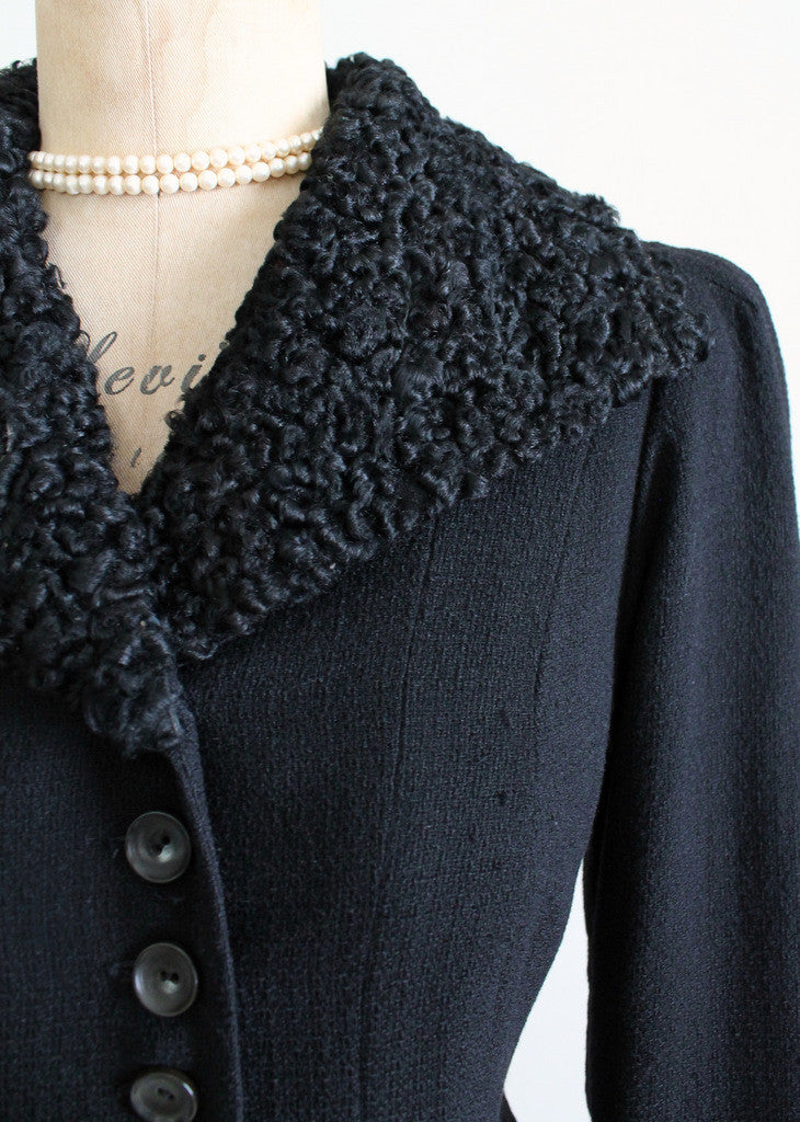 1930s Curly Lamb Fur Collar Coat
