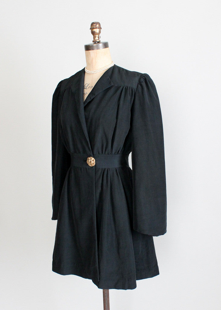 Vintage 1930s Black Faille Princess Coat