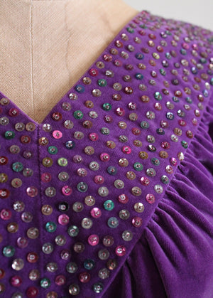 Vintage 1930s Sequined Purple Velvet Dress