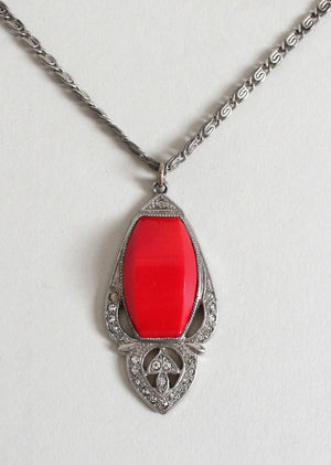 Vintage 1930s Red Dome Art Deco Necklace