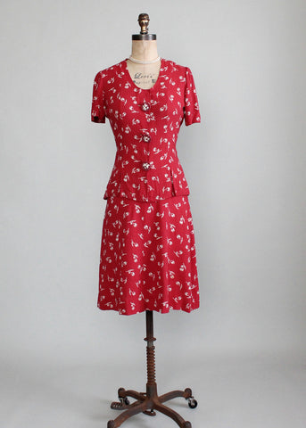 Vintage Late 1930s Red Rose Bud Suit