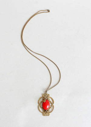 Vintage 1930s Red Glass and Brass Pendant Necklace
