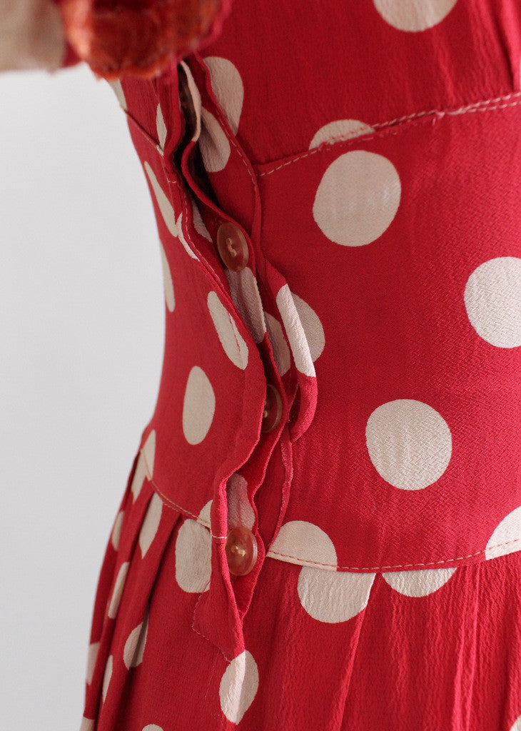 Vintage 60s DEADSTOCK Rayon  Cotton red polka dot lounge dress step in 34 zip front by Loungees