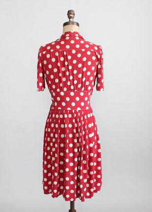 Vintage Late 1930s Red Rayon Polka Dot Swing Dress