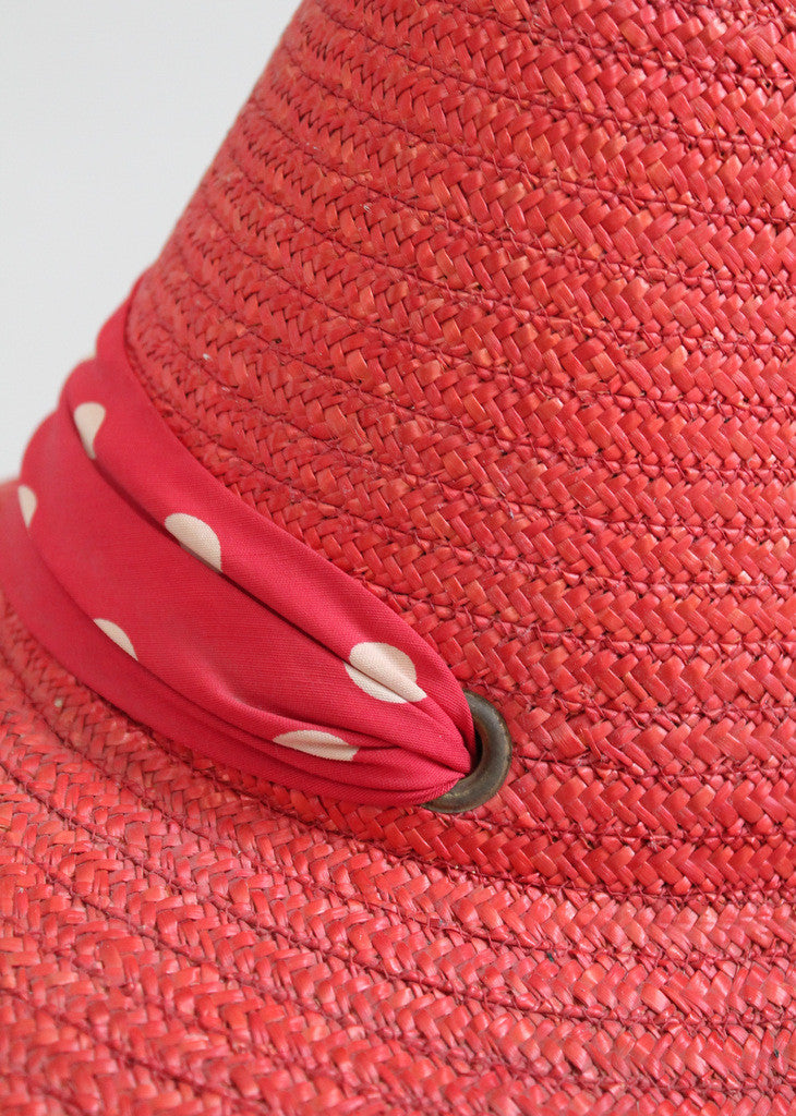 Vintage Late 1930s Red Straw Italian Beach Hat