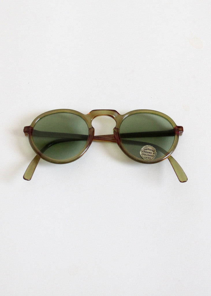 Vintage 1940s Green Round Sunglasses