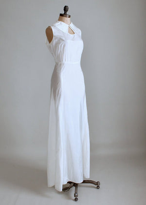 Vintage 1930s White Moire Silk Wedding Dress