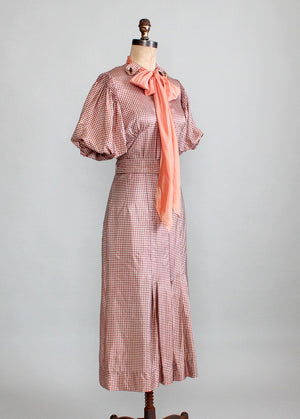 Vintage 1930s Taffeta Check Day Dress with Puff Sleeves