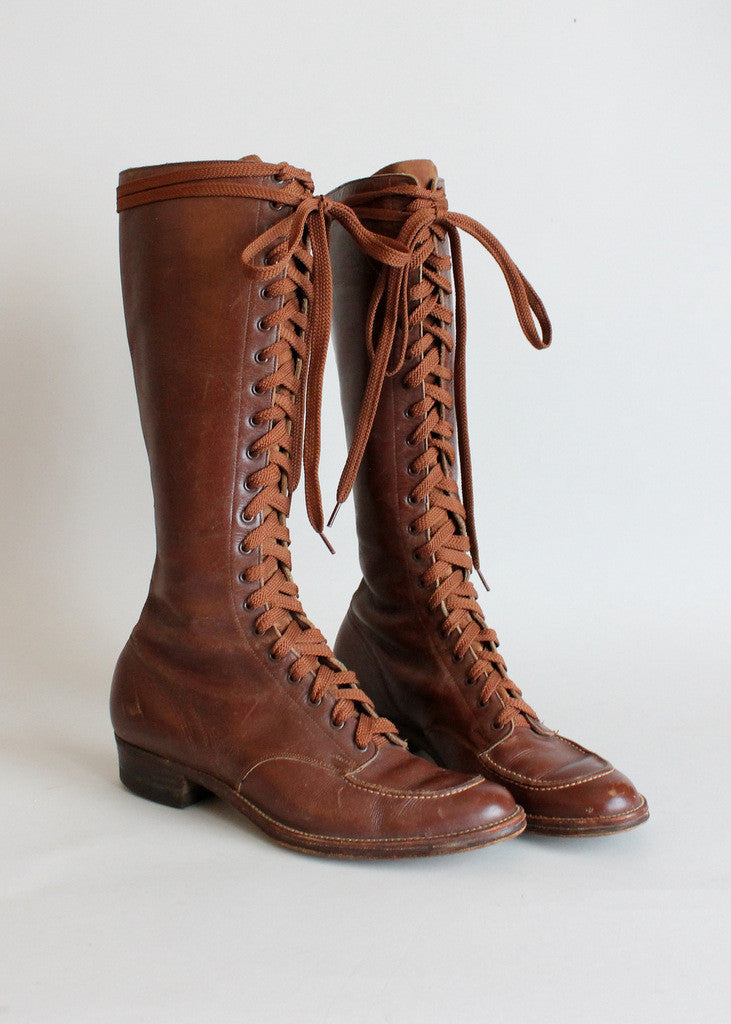 Vintage 1930s Tall Lace Up Boots Raleigh Vintage