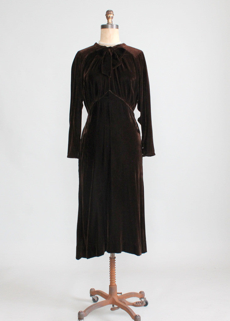 Vintage 1930s Brown Velvet  Afternoon Dress