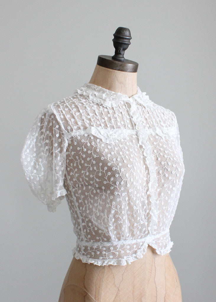 Vintage 1930s White Lace Sweetheart Blouse Raleigh Vintage