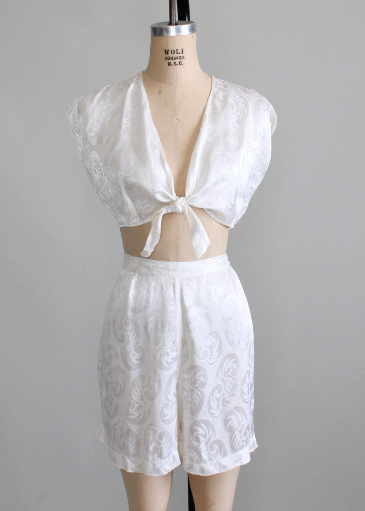Vintage 1930s Two Piece Silk Lounging Pajamas