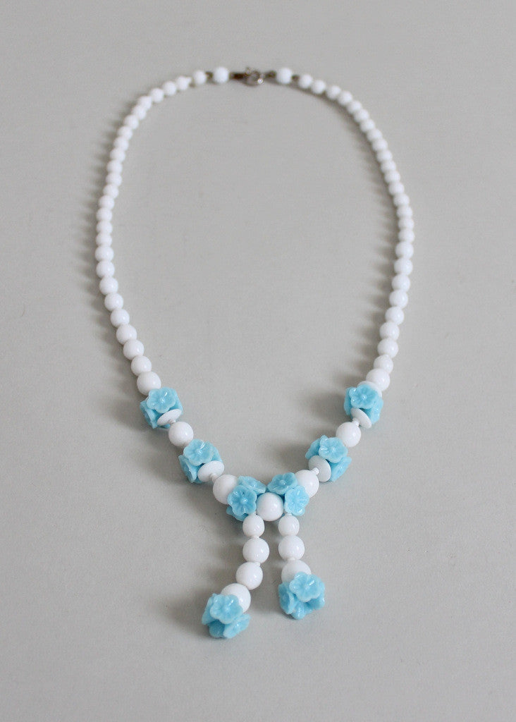 Vintage 1930s Blue Flowers and White Glass Bead Necklace