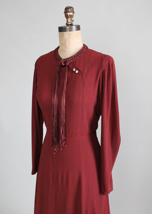 Vintage 1930s Braided Tassel Peplum Dress