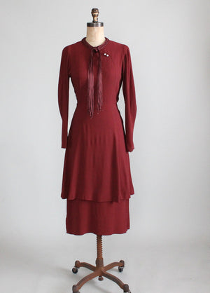 1930s Crepe Peplum Dress