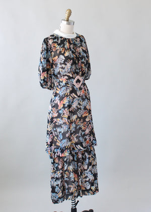Vintage 1930s Abstract Print Silk Chiffon Dress